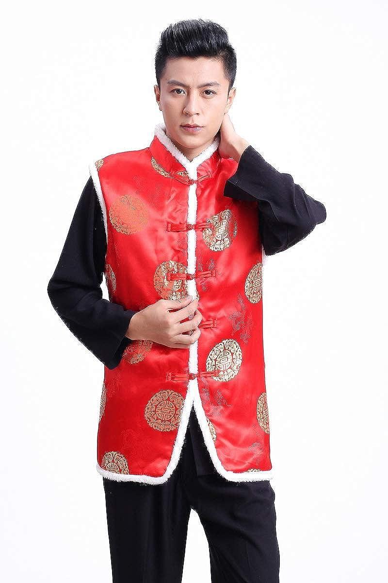 XueXian Mens Stand Collar Button Down Cotton Stuffed Alternative Vest Jacket
