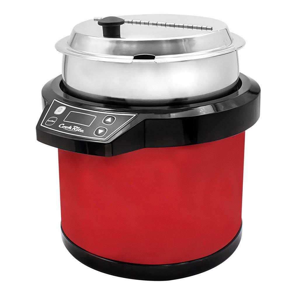 Chef's Supreme - 7 qt. 120v Red Soup Kettle w/ Digital Display