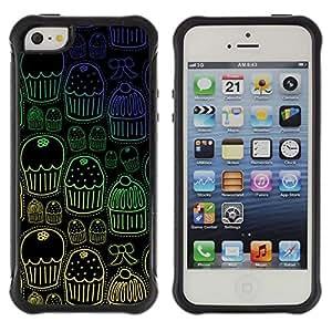 LASTONE PHONE CASE / Suave Silicona Caso Carcasa de Caucho Funda para Apple Iphone 5 / 5S / Cupcake Muffin Wallpaper Sweets Pattern