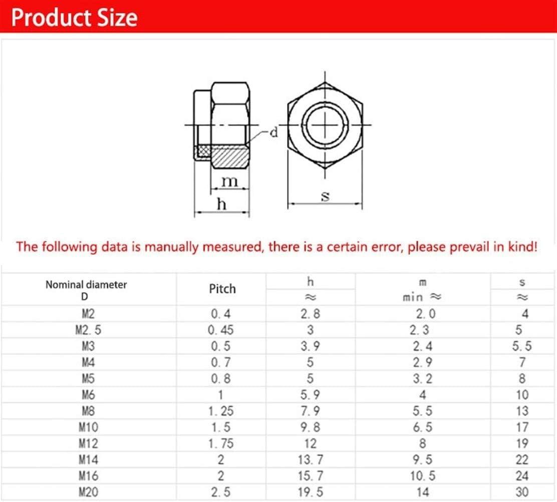 Nuts 100Pcs DIN985 304 M2 M2.5 M3 M4 M5 M6 M8 M10 Galvanized Carbon Steel Self-Locking Nut Lock Nut Locknut Slip Nylon Hex Nut Size : M2 100Pcs a lot