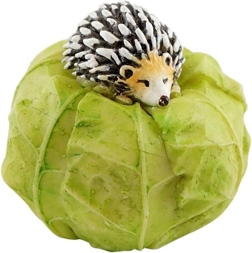 Top Collection Miniature Fairy Garden and Terrarium Mini Hedgehog on Cabbage Statue