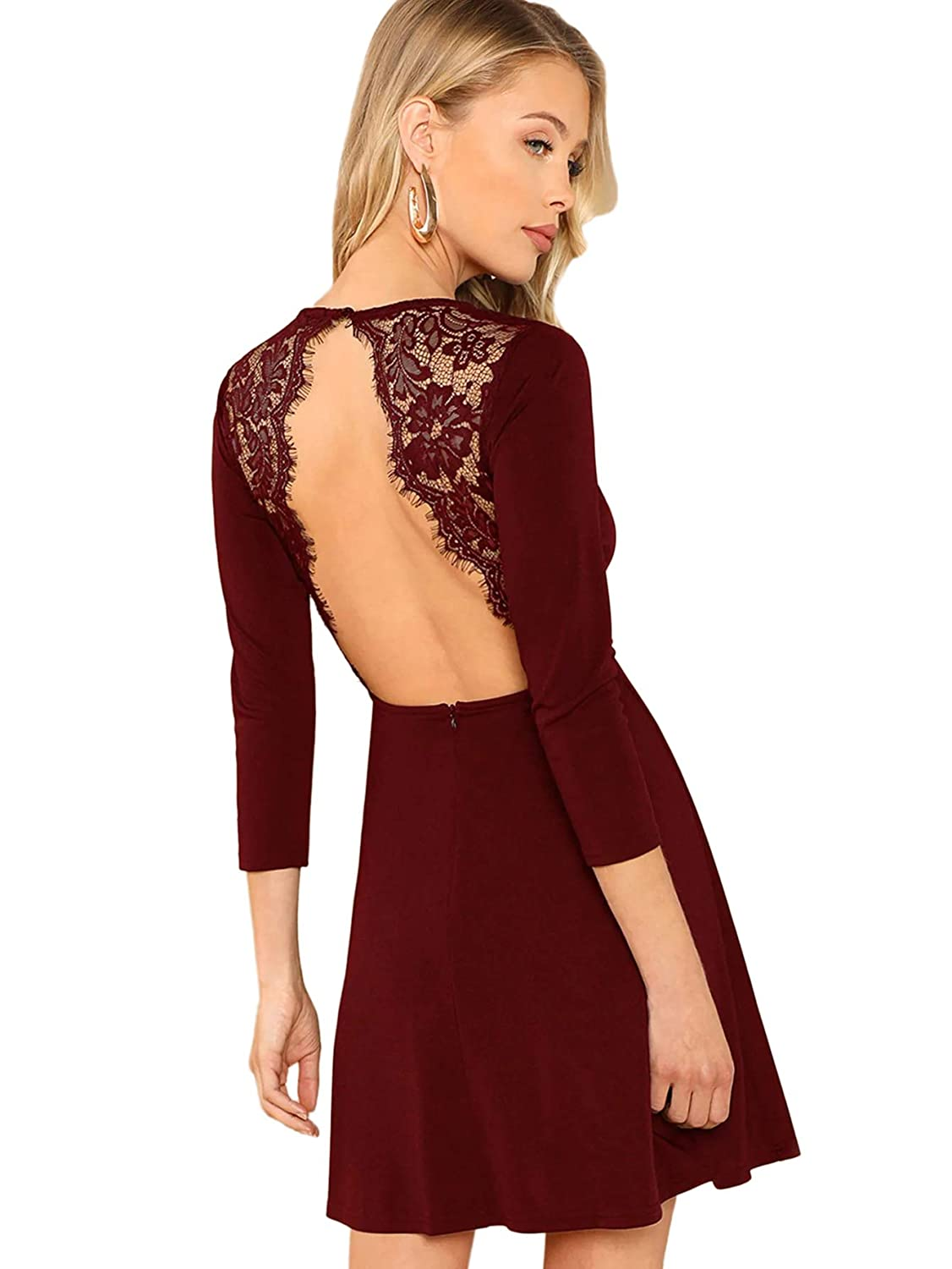e18fdcbb4f Amazon.com: SheIn Women's Sexy Long Sleeve Backless Lace Applique Cocktail  Party Mini Dress: Clothing