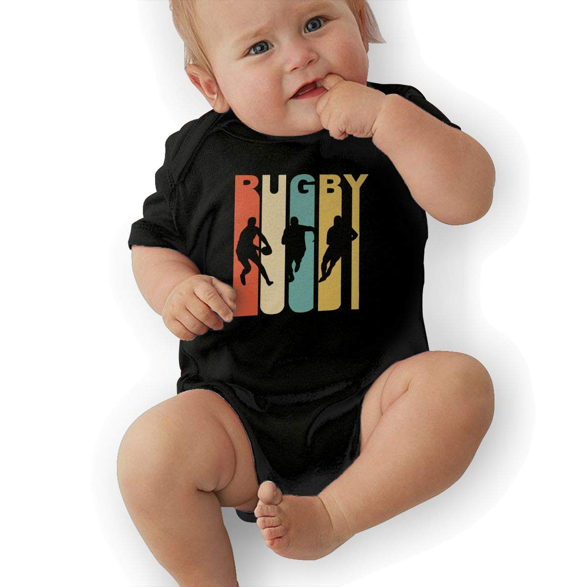 Mri-le2 Toddler Baby Boy Girl Short Sleeve Jersey Bodysuit Retro Rugby Toddler Jumpsuit