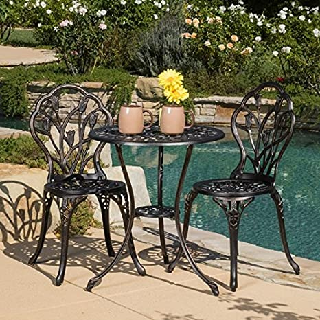 Image Unavailable. Image not available for. Color: Christopher Knight Home  Nassau Cast Aluminum Outdoor Bistro Furniture Set - Amazon.com : Christopher Knight Home Nassau Cast Aluminum Outdoor