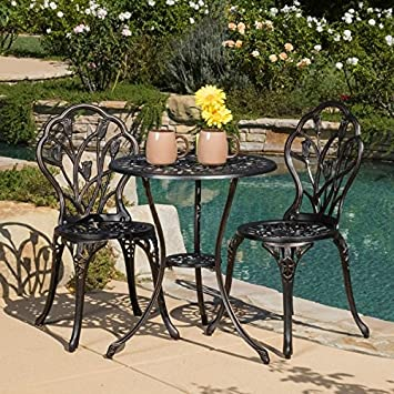 Christopher Knight Home Nassau Cast Aluminum Outdoor Bistro Furniture Set