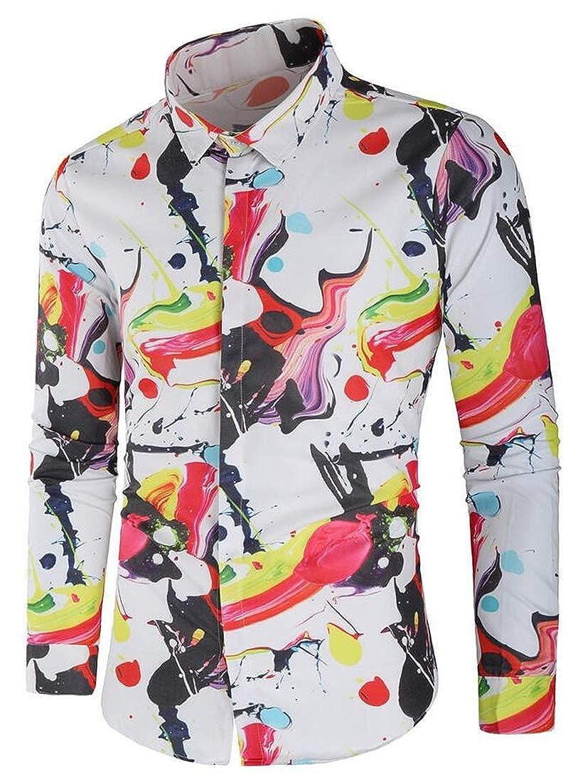 pipigo Men Fashion Long Sleeve Floral Print Plus Size Lapel Splash Ink Button Down Dress Shirts