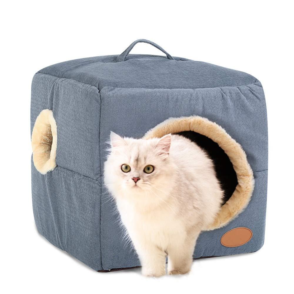 PETUNL Morbido Caldo 2 in 1 Pet Nest Antiscivolo Dog Cat Pieghevole Inverno Morbido Coy Sleeping Bag Mat Cuscini Pad (Dimensioni   M)