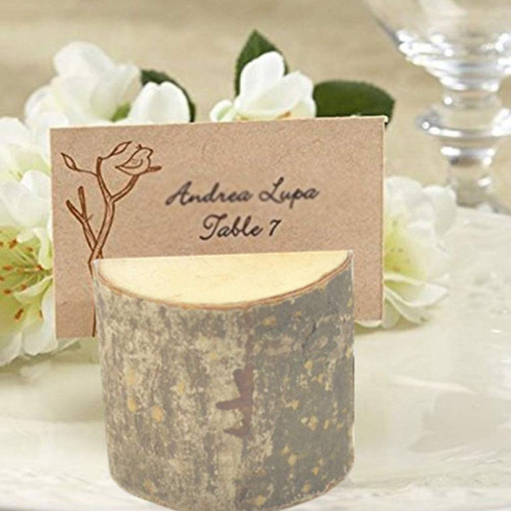 Ogquaton New Wooden Wedding Table Number Stand Place Name Memo Card Holders Table Number Card Holders 10Pcs Creative and Useful
