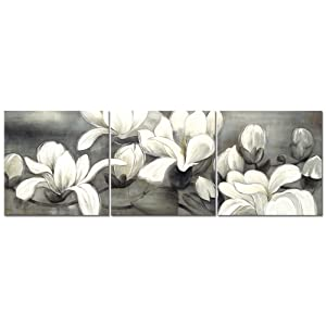 Wieco Art Magnolia Flowers Canvas Prints Wall Art 3 pcs White and Grey Floral Pictures Paintings Ready to Hang for Living Room Bedroom Home Decorations Modern Stretched and Framed Grace Giclee Artwork