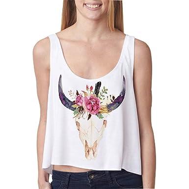 NiSeng Mujer Niñas Acuarela Cráneo de toro con flores y plumas Crop Top Camisetas Sin Mangas Verano: Amazon.es: Ropa y accesorios