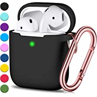 JINGCI Airpods Case, Full Protective Airpods Case Cover Silicone Airpods Case Keychain for Girls and Women, Soft Chargeable Headphone Case with Rose Gold Carabiner for AirPods 2 and 1