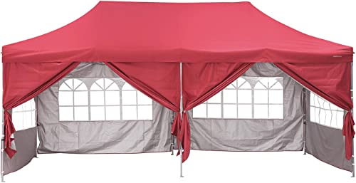 PUPZO Pop-Up Canopy Tent Gazebo 10×20 Portable Adjustable Carrying Bag Waterproof Party Camping Shelter Canopy Red with 6 sidewalls