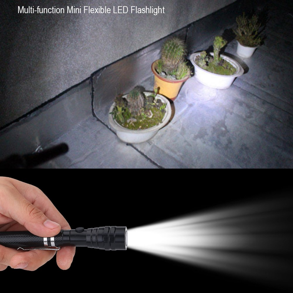 Red con extremo magn/ético y dise/ño de cuello telesc/ópico perfecta para acampar linterna antorcha LED flexible multifuncional emergencia Linterna LED uso al aire libre