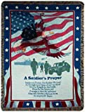eagle quilt - Manual Patriotic Collection 50 x 60-Inch Tapestry Throw, A Soldiers Prayer,
