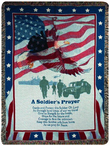 Manual Patriotic Collection 50 x 60-Inch Tapestry Throw, A Soldiers Prayer, - Eagle Tapestry