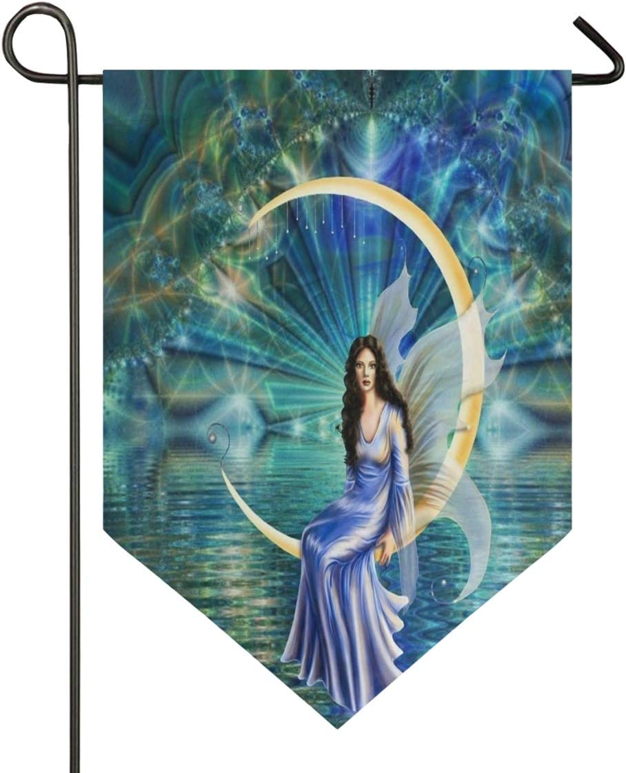 Moon Goddess Garden Flag Outdoor Banner Decorative Large House Polyester Flags for Wedding Party Yard Home Decor Season Porch Lawn Double Sided 28 x 40 inches