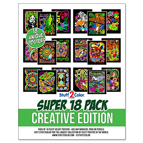 (Super Pack of 18 Fuzzy Velvet Coloring Posters (Creative Edition) )