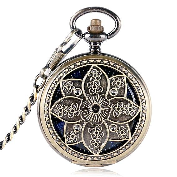 Reloj de Bolsillo clásico, Flor de Loto, Reloj de Bolsillo de Cobre para Mujeres