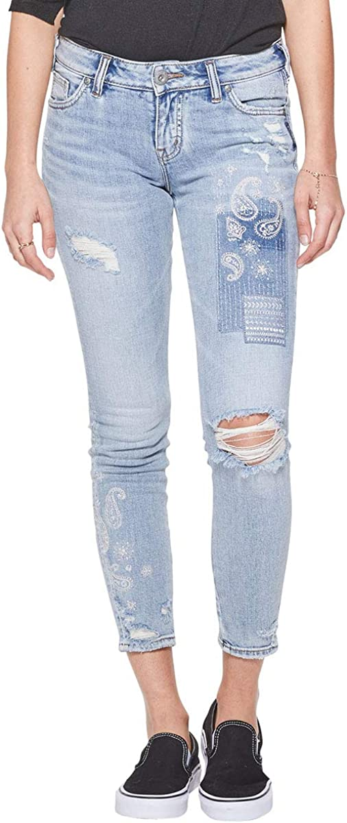 Silver Jeans Co. Women's Aiko Ankle Skinny Jean with Paisley Embroidery