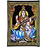 GREENTOUCH CRAFTS Saraswati - Cloth Print with Sequin Work handmade painting work
