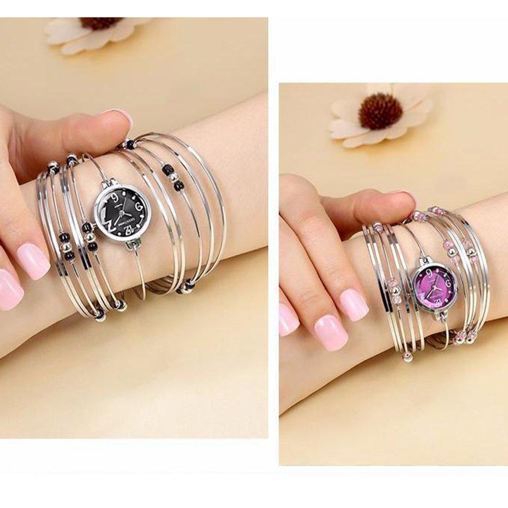 Womens Quartz Bracelet Watch Fashion Analog Multilayer Stainless Steel Ladies Jewelry Watches Women Wristwatch on Sale (Blue) by AEHIBO (Image #3)