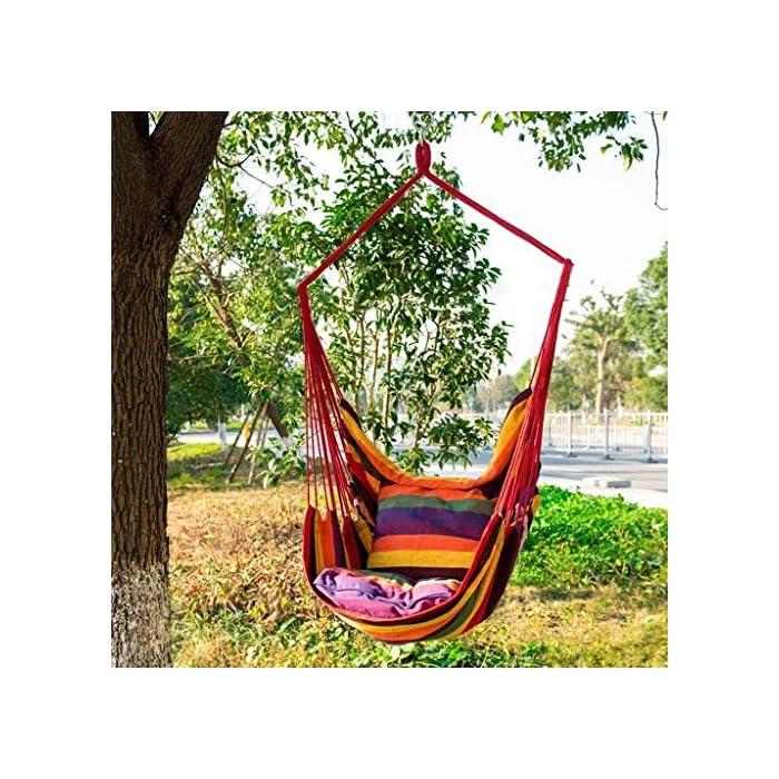 61uiSe1X%2BvL Las hamacas portátiles para camping son extremadamente duraderas. Utilizada en materiales de alta durabilidad, esta hamaca puede alojar con seguridad a 1 adulto. Además, la hamaca portátil para acampar se siente suave y le permite dormir cómodamente en una hamaca portátil para acampar. Las hamacas portátiles para acampar son fáciles de instalar. Colgar una hamaca portátil para acampar en la rama principal de un árbol sólido con cuerdas, correas y mosquetón lleva menos de 3 minutos. La altura segura entre el columpio de la hamaca y el piso debe ser inferior a 50 cm. Las hamacas paracaídas se pueden utilizar para todo tipo de actividades, como acampar, caminar, viajar y retirarse. También es una excelente opción para tiendas de campaña, colchones, tapetes, columpios, cunas, etc. Por lo tanto, puede usar la hamaca paracaídas para relajarse en muchas actividades.