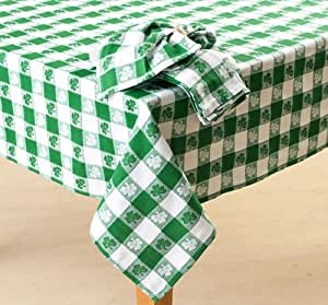 """Stp-a84t Shamrock Gingham St. Patrick's Day Cotton Tablecloth 84 X 60"""" Oblong Green & White Irish Clover"""