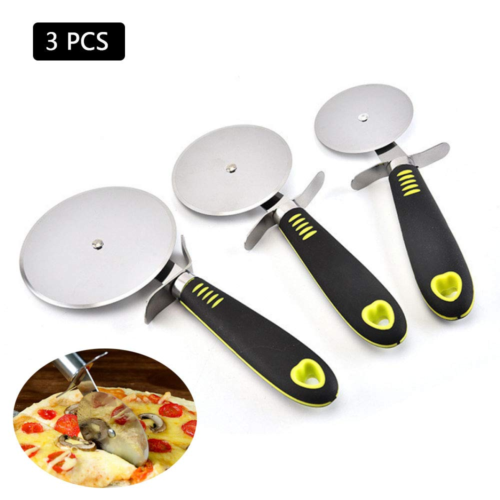 CLDGF 3 Pcs Pizza Knife, Stainless Steel Cake Shovel, Ergonomic Non-Slip Handle, Sharp Roller Blade, Scraper (Includes Three Sizes)