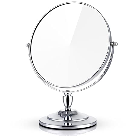 Miusco 7X Magnifying Double Sided Large Tabletop Makeup Mirror, 8 Inch,  Round