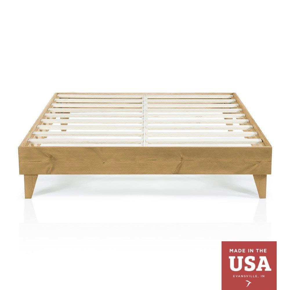 Cardinal & Crest Wood Platform Bed Frame | Modern Wooden Design | Solid Wood | Made in U.S.A. | Easy Assembly | Almond, King