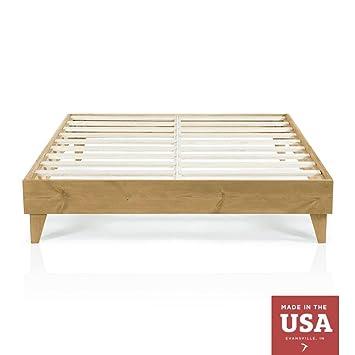 Amazon.com: Cardinal & Crest Wood Platform Bed Frame | Queen Size ...