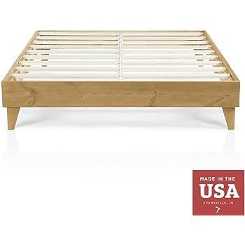 Amazon Com Solid Wood Platform Bed Frame Natural Color