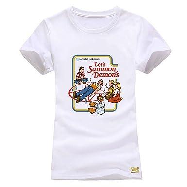 3cab9dbd Amazon.com: cornflower Let's Summon Demons Printed Cotton Funny Women T-Shirt  Casual Tees: Clothing