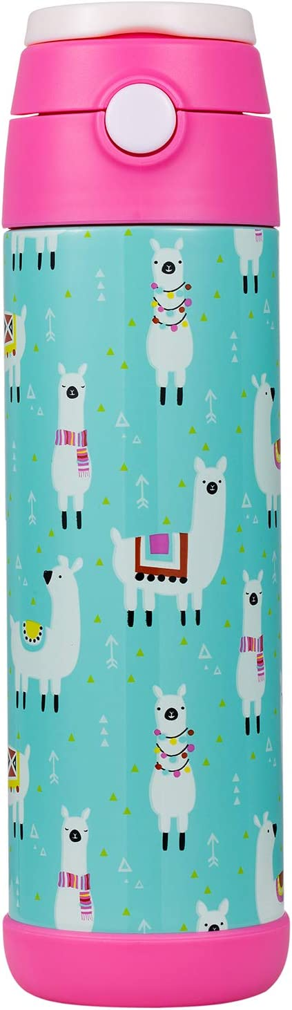 Snug Flask for Kids (500ml) - Vacuum Insulated Water Bottle with Straw (Llamas)