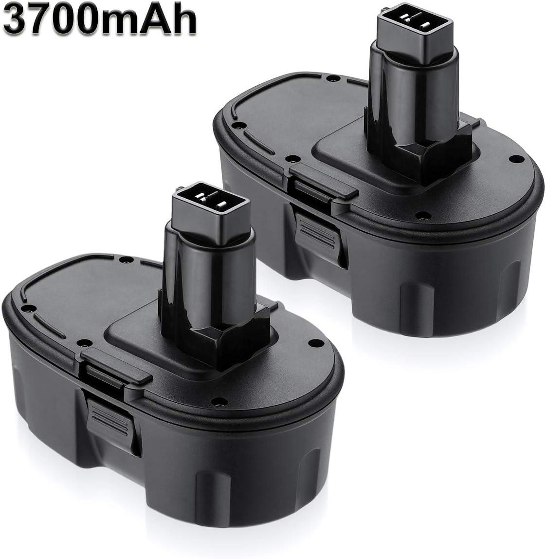 Dutyone 2 Pack 3700mAh 18V Replacement Battery for Dewalt 18 Volt XPR Battery DC9096 DC9098 DC9099 DW9095 DW9096 DW9098 DE9038 Cordless Power Tools Compatible with Dewalt 18Volt NI-MH Batteries
