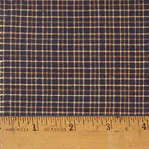 Antique Black Cotton Homespun Plaid Fabric by JCS - Sold by The Yard