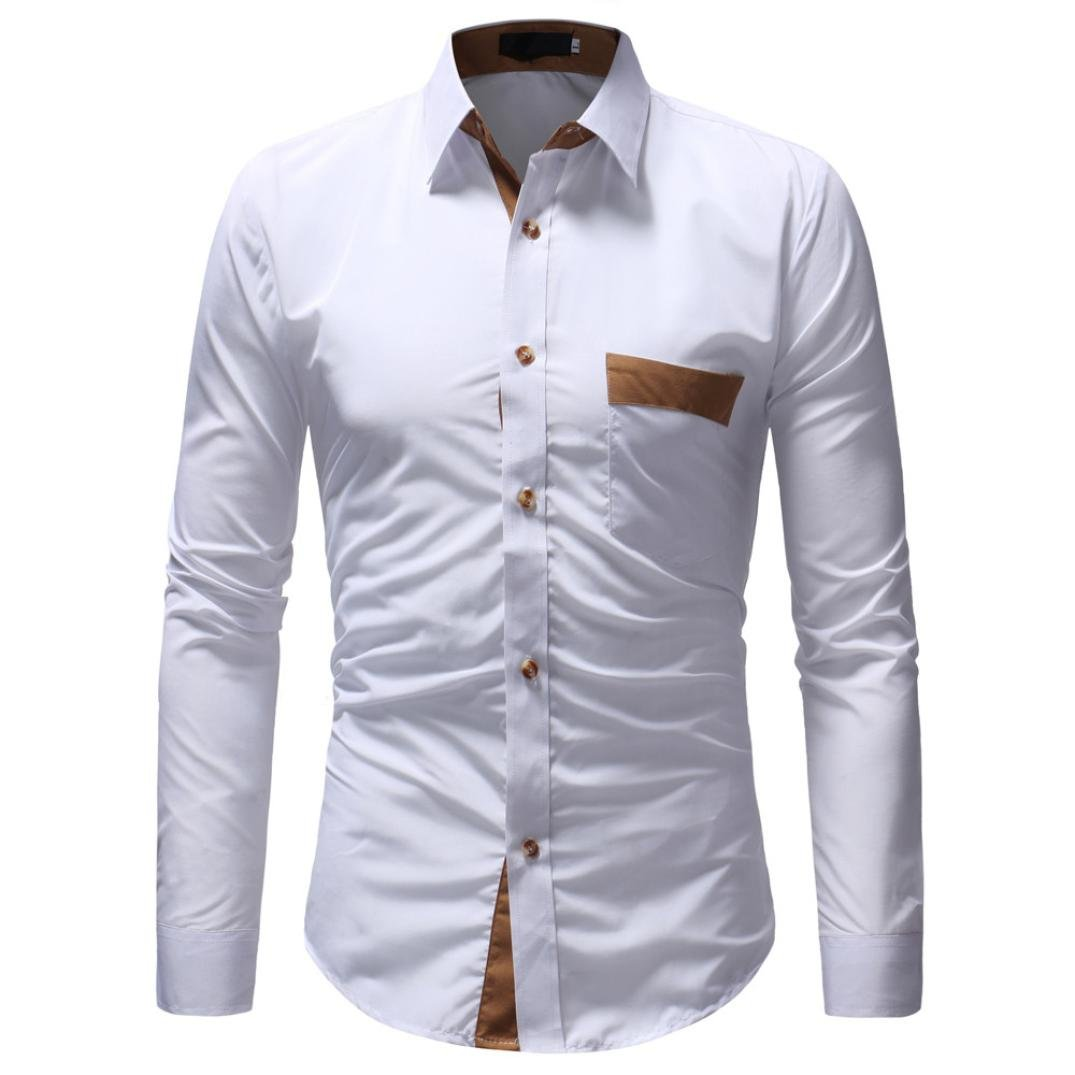 HTHJSCO T-Shirt Top Blouse, Men's Long Sleeves Button Down Dress Shirts (White, XL) by HTHJSCO