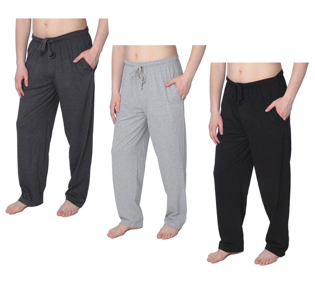 Men's Jersey Knit Pajama Pants Long Lounge Pants Available in Plus Size MLP01_18 3 Pack 1X