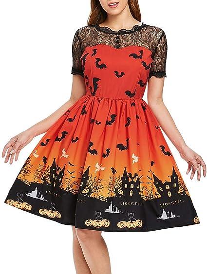 Vestido con Estampado Vintage de Fantasma Gato Calabaza Vestido de ...