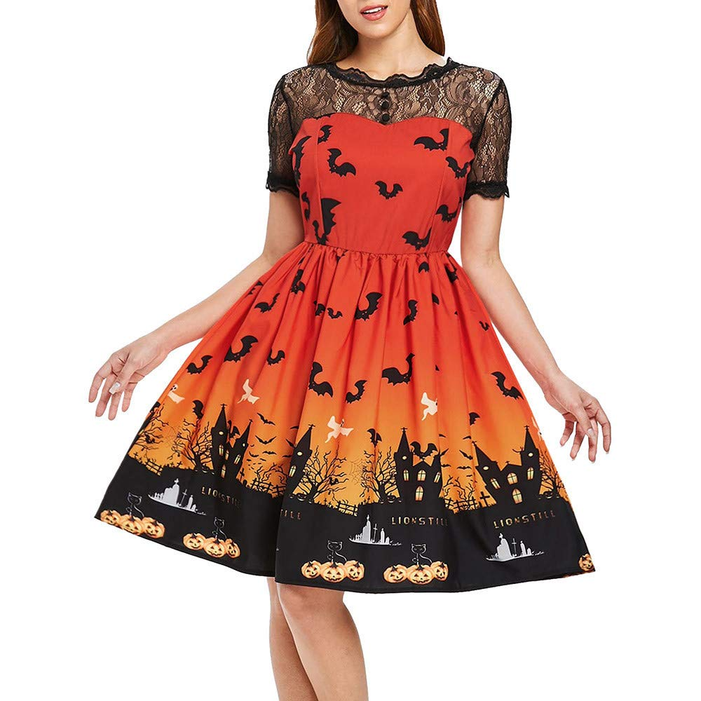 FimKaul Halloween Women's Lace Pumpkin Sugar Skull Vintage Swing Retro Rockabilly Cocktail Party Dress Cap Sleeve (L, Orange) by FimKaul