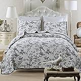 Dodou European Style Bird Quilt Garden Theme Patchwork Bedspread/Quilt Sets 100% Cotton Queen Size 3pcs
