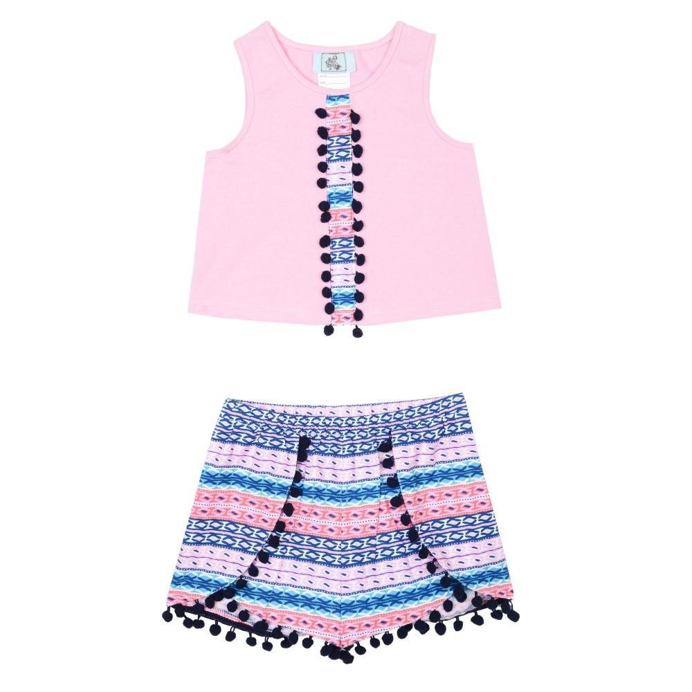Pippa & Julie Baby Boys Patterned Printed Short Set, Pink/Blue, 24 Months