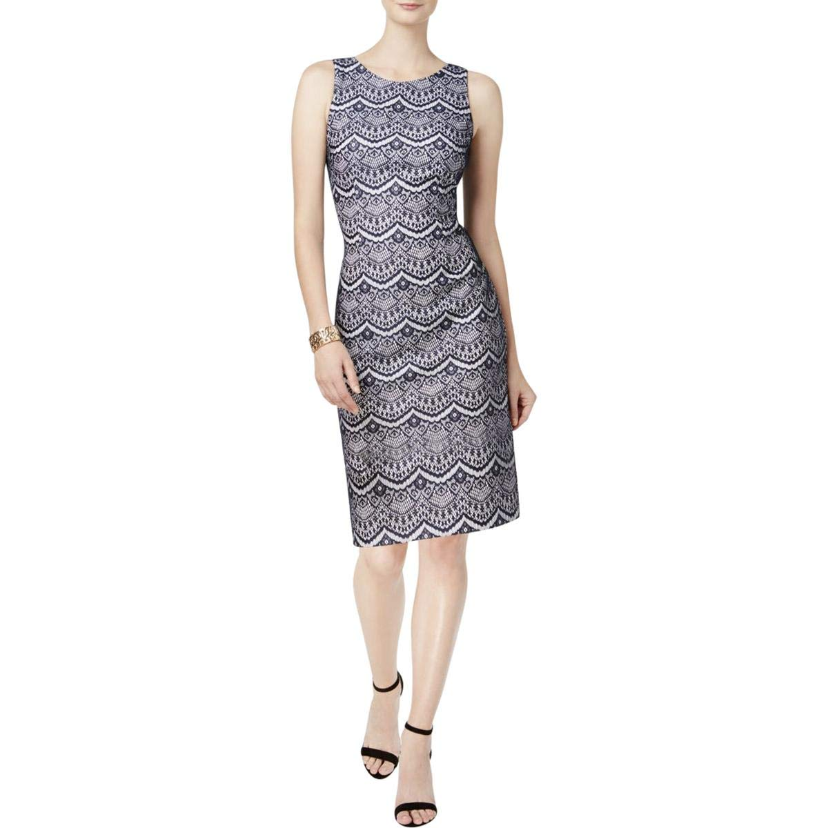 Jessica Simpson Women's Bonded Lace Dress, Navy/White, 4 by Jessica Simpson (Image #1)