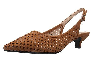Andres Machado Damen Slingback Pumps - Braun Schuhe in Übergrößen, Größe:43