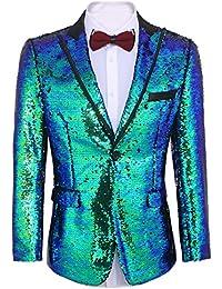 Men s Shiny Sequins Suit Jacket Blazer One Button Tuxedo for  Party af8597dc1a