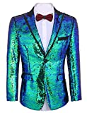 COOFANDY Shiny Sequins Suit Jacket Blazer One Button Tuxedo for Party,Wedding,Banquet,Prom,Nightclub (XXXL, Blue)