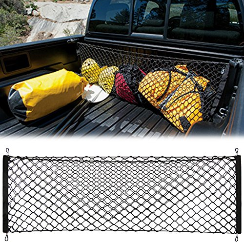AndyGo Cargo Net Envelope Style Trunk Organizer Vehicle Storage Fit for Toyota Tacoma 2015 2016 2017 2018 2019 - Divider Toyota Cargo