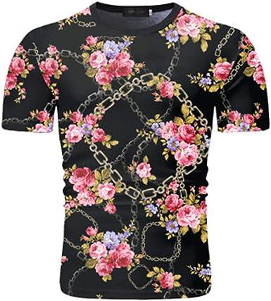 Mr.BaoLong&Miss.GO Camiseta para Hombre Camiseta para Hombre De Manga Corta con Estampado Floral De Manga Corta De Verano para Hombre: Amazon.es: Ropa y accesorios
