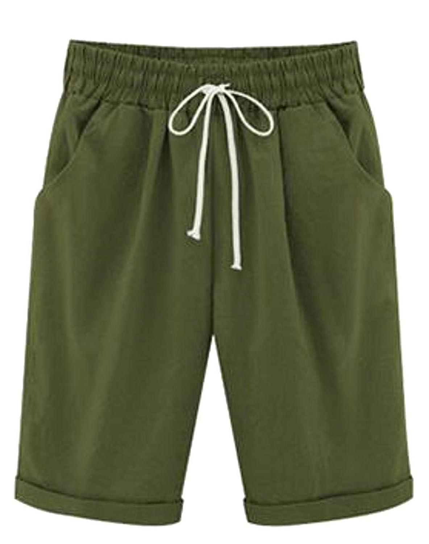Cruiize Womens Cuffed Elastic Wasit Drawstring Plus Size Bermuda Thin Shorts