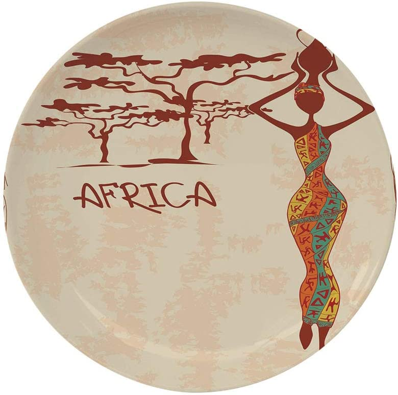 "Ylljy00 African Woman 8"" Dinner Plate,Vintage Africa Themed Illustration Slim Indigenous Girl Figure Colorful Dress Decorative Ceramic Decorative Plates,Dining Table Tabletop Home Decor,Multicolor"
